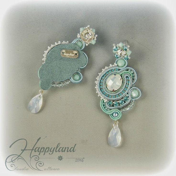 """"""" Colazione da Tiffany """" , soutache earrings with Swarovski and silver. Pattern available"""