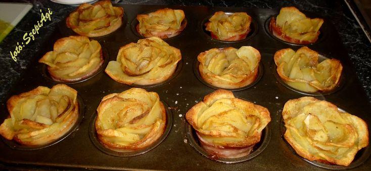 A krumplit hámozás után, 1-2 mm vastagságú karikákra vágtam. A muffin sütőt extra szűz olívaolajjal kikentem, vékonyra szelt baconnal kibéleltem és a krumplikarikákat körberaktam egy-egy lyukba. Nyugdíjasok Hasábburgonya fűszersóval megszórtam....