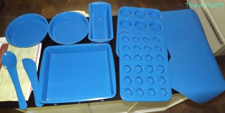 10 PC Silicone Bakeware Set Blue Oven Freezer Microwave Dishwasher Safe #Techique
