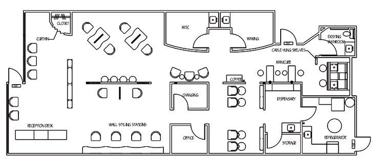 floor plan small nail salon - interior