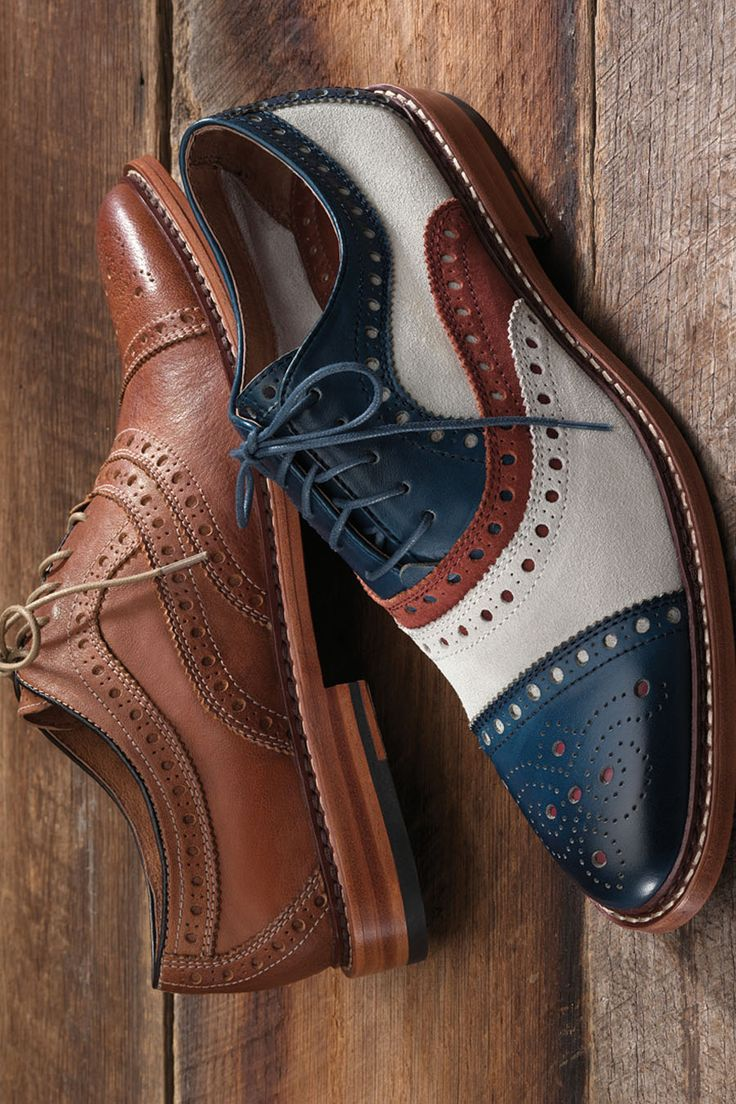 Patriotic Pair: Johnston & Murphy McGavock Cap Toe in red, white and blue.
