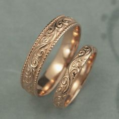 antique style wedding rings flourish wide wedding set 14k rose gold wedding bands vintage design rings patterned rings his and hers bands