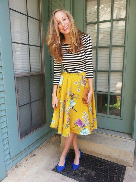 floral skirt with striped top