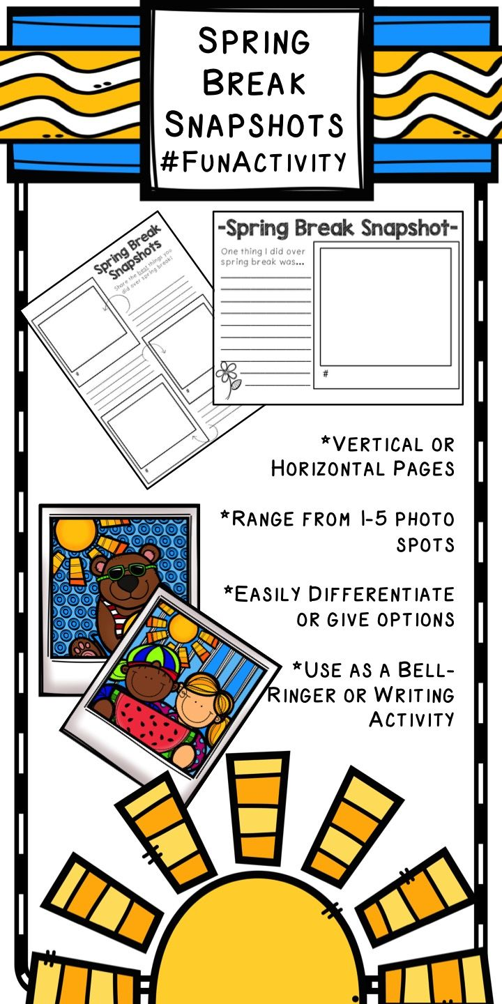A #FunActivity to ease your upper elementary students into school again as they write and reflect about their break.  There are so many ways to use this in the classroom after Spring Break--check it out on TpT!