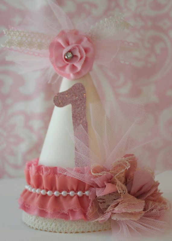 Shabby chic party hat/ shabby chic birthday hat/ by TheBannerBee, $17.00