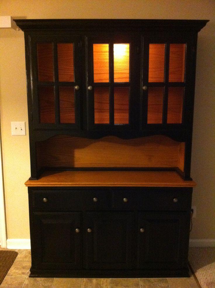 Black And Pine Oak Kitchen Hutch Diy Remodeling Updating Kitchen