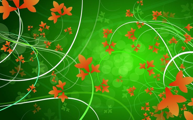 Green Background with Orange Leaves Designs | HD Wallpapers