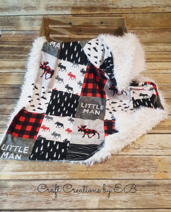 Minky Baby Boy Blanket Buffalo Plaid Little by CraftCreationsbyEB