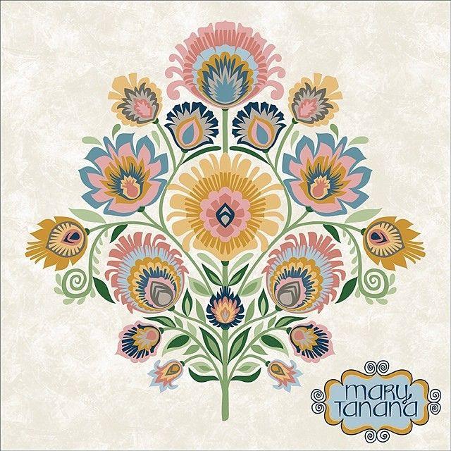 A more #neutral #palette. Art my Mary Tanana. #folk #art #surfacepattern #design #Polish #wycinanki #indigo #craft #create #draw #paper #cut #floral #flower #groovity