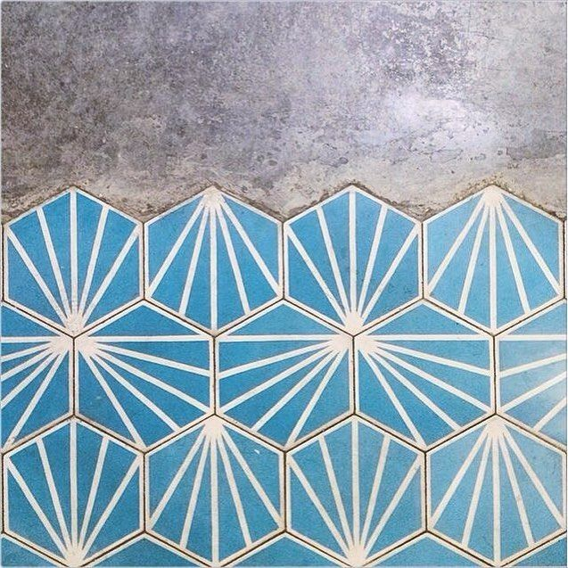 Hydraulic blue tile is a perfect material for the floors of modern bathrooms…