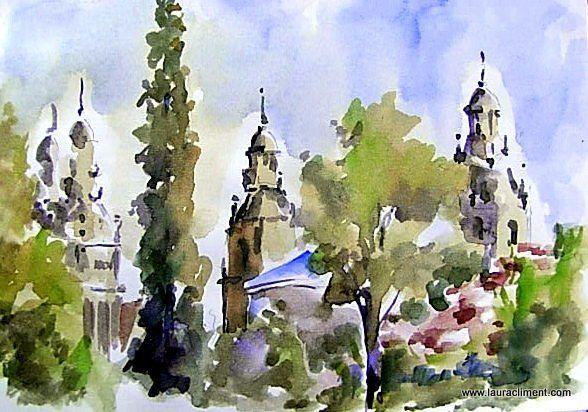 View of Montjuïc,  from de Albeniz  Palace.  Watercolor.