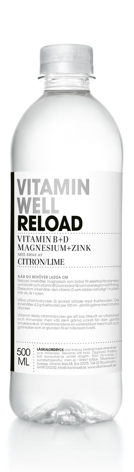 WHEN YOU NEED TO RELOAD - WITH A TASTE OF LEMON/LIME  Vitamin Well Reload contains magnesium for the body´s electrolyte balance, along with biotin and B12 which helps to maintain a normal energy-yielding metabolism. It also contains vitamin D, which is produced naturally in the skin when exposed to the sun.