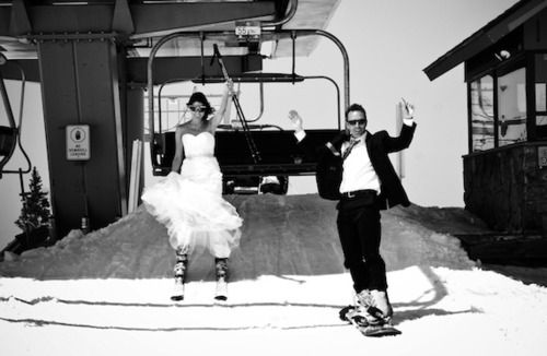 skiing in a wedding dress is really an accomplishment!