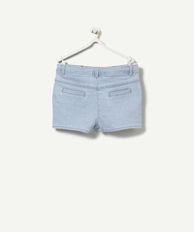 LA JUPE SHORT CAROLINE :                     Super pratique, un short en jean qui a la forme d'une jupe ! Vraiment tendance, on craque !            LA JUPE SHORT EN JEAN, taille élastiquée, 4 poches, passants ceinture.