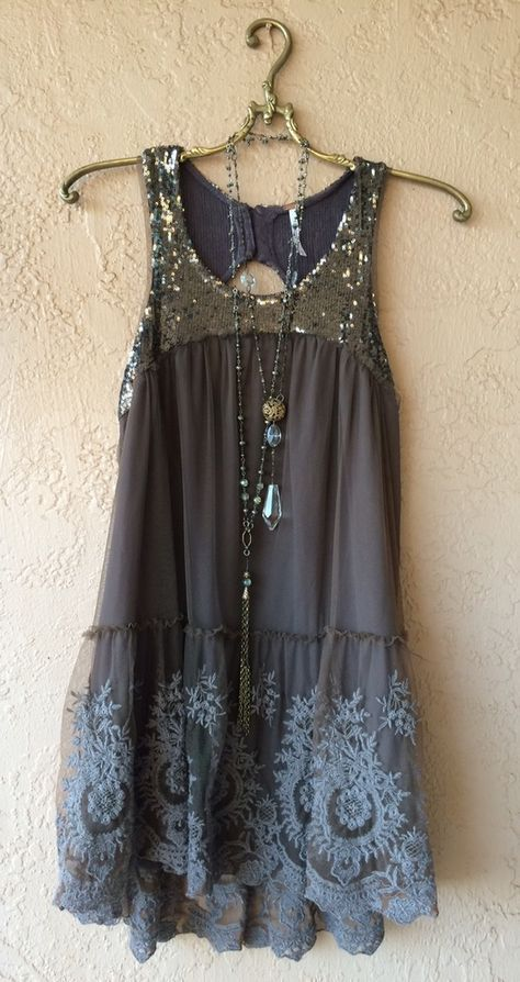 Free People Gypsy violet taupe beaded key hole back with embroidery layers of ruffles