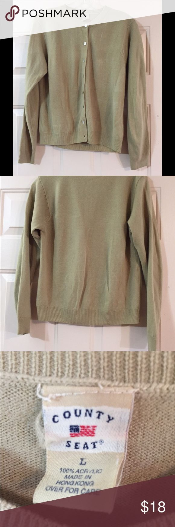 🕰🌛 VINTAGE County Seat Cardigan Excellent condition for vintage product.  From County Seat est. 1973-1999.  100% Acrylic   Size large,  bust 35 inches, length 21 inches, sleeve 22 inches. Tan cardigan. Be sure to review measurements before purchase. No visible and or noticeable flaws. 🐶🚭 County Seat Sweaters Cardigans
