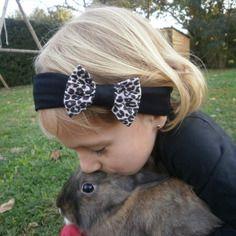 Bandeau cheveux bébé enfant noeud léopard / bandeau noir léopard fillette petite fille