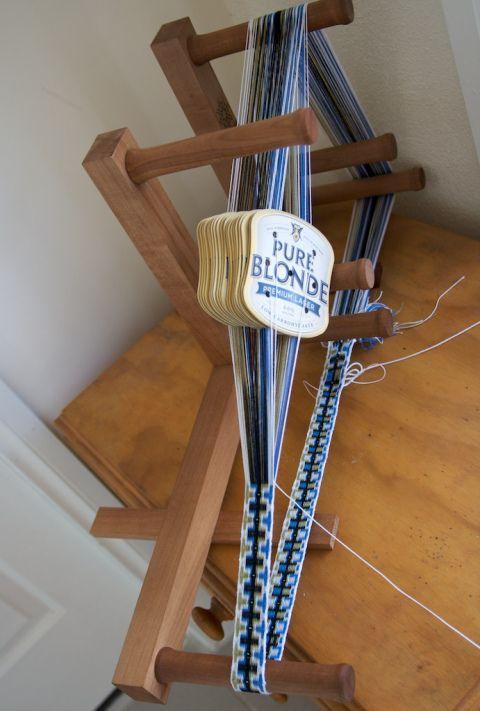 Tablet weaving on an inkle loom