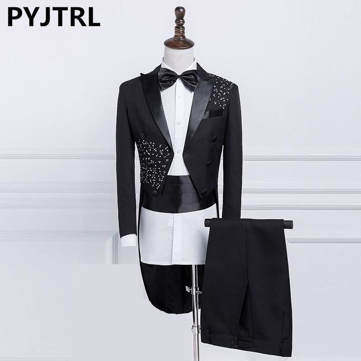 OLAMICH New Men Fashion Crystal Wedding Tuxedo Gentleman Shiny Singer Stage Tailcoat