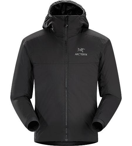 Atom AR Veste à capuche Homme Série Atom : couches intermédiaires synthétiques isolantes | AR : convient à toutes saisons. Cette veste à capuche polyvalente à l'isolation Coreloft™ peut servir de couche extérieure par temps froid et sec, ou de couche intermédiaire par temps froid et humide.