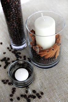 Zobacz zdjęcie Szklanka , świeczki , kawa i laski wanilii ;)