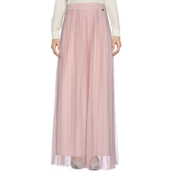 Liu •jo Long Skirt ($125) ❤ liked on Polyvore featuring skirts, light pink, long pink skirt, light pink skirt, maxi skirt, floor length skirt and zip skirt