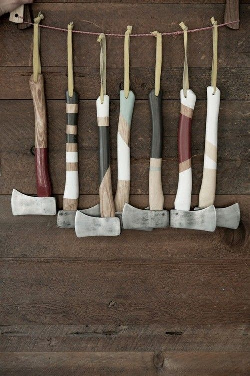 Hanging Painted Axes, Remodelista