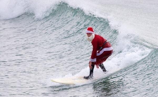 Christmas Day at Bondi Beach, Australia #Aussie #Holiday #Santa