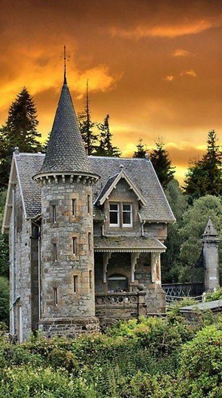 Fairytale gatehouse at the entrance to Ardverikie Estate in Kinloch Laggan, Scottish Highlands • photo: Sandra Cockayne on FineArtAmerica