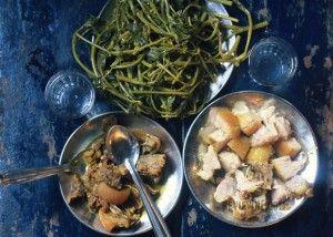 The spread - beef, pork, greens, & rice brew