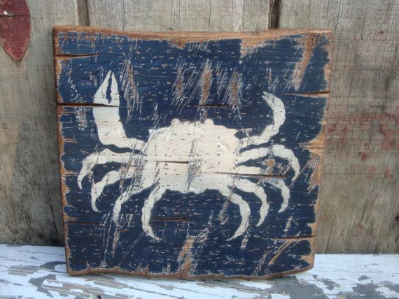 Rustic Distressed Crab Wood Beach Sign by TheUnpolishedBarn, $29.99