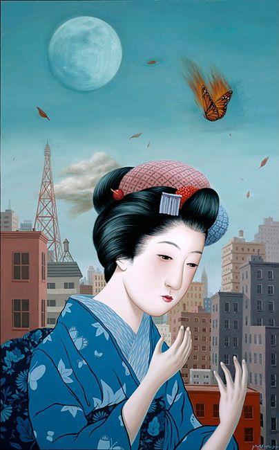 Alex Gross Japan illustrations representing diverse cultures