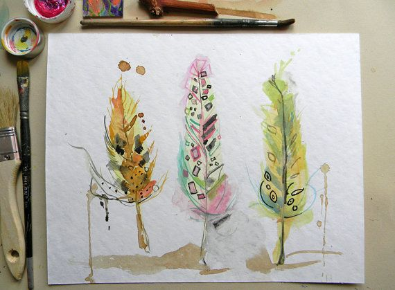 Original watercolor feather Colorful painting by AquarelleDream
