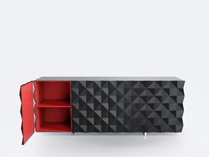 Buffet drawers from the Rocky Collection designed by Joel Escalona, configured with four large sections of storage with their respective doors, detailed in its sides and front with pyramid pattern. Made of particle board and chromed metal legs. Finished in semi-gloss lacquer interior and exterior with different tones. #Design #furniture #coolinteriors #Storage #Drawers