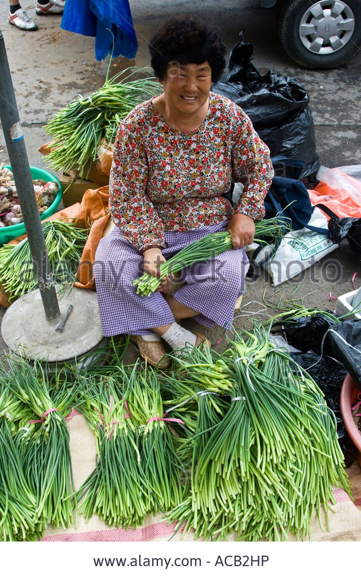 Download this stock image: Woman Selling Long Green Onions at Market Chungcheongbuk Do Province South Korea - ACB2HP from Alamy's library of millions of high resolution stock photos, illustrations and vectors.