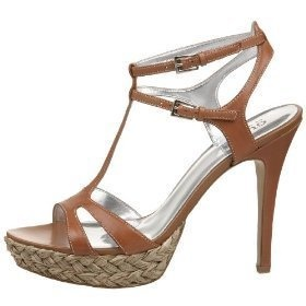 GUESS Marciano BROWN T-Strap Platform Pumps Heels Strappy Sandals Leather Womens
