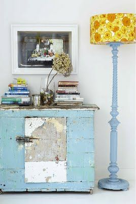 Aqua with shabby patina swoon!: Decor, Interior, Idea, Painted Furniture, Color, Blue, Shabby Chic, Lampshade