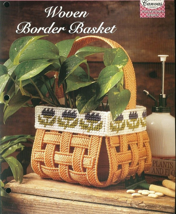 the needlecraft shop plastic canvas | Woven Border Basket Plastic Canvas Pattern…