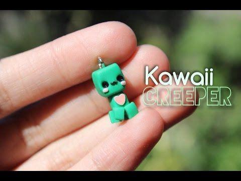 Kawaii Minecraft Creeper polymer clay charm tutorial