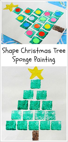 Great way to incorporate shape and pattern discovery into your holiday art: Shape Christmas Tree Sponge Painting~ Buggy and Buddy