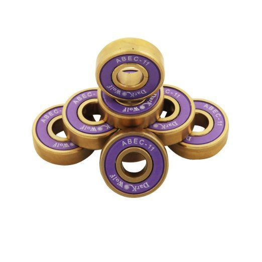 Set of Dark Wolf Skateboard Bearings Titanium ABEC 11 Purple Gold 8pcs with 4pcs Spacers