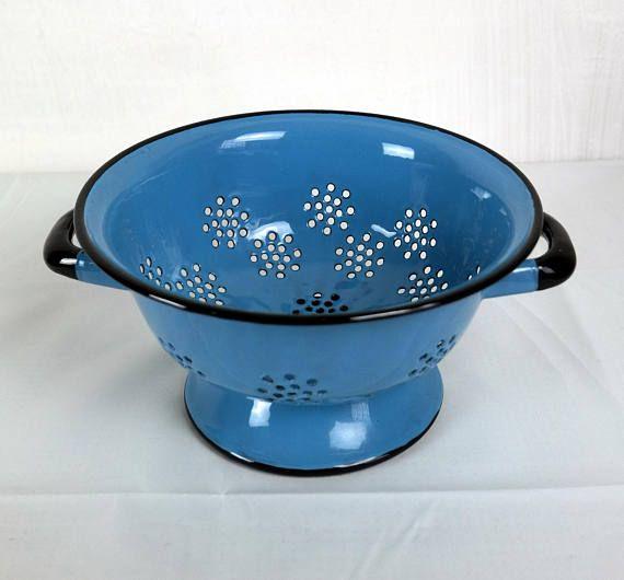 Vintage Blaues Emaille Sieb Küchensieb Salatsieb