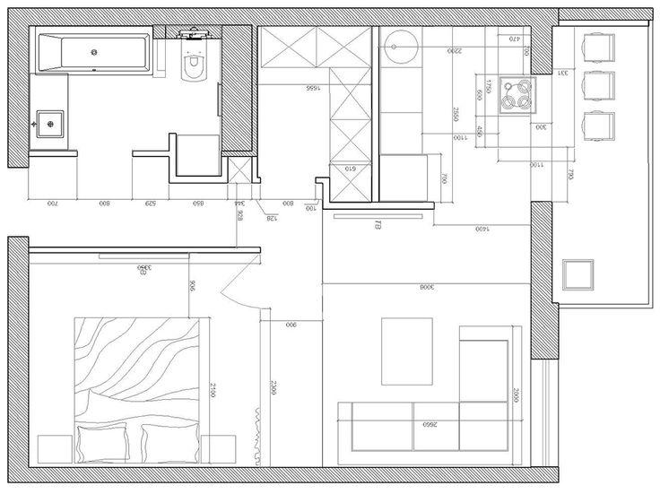План перепланировки 1-комнатной квартиры в студию с кроватной комнатой