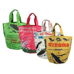 Handmade Recycled Rice Bag Totes