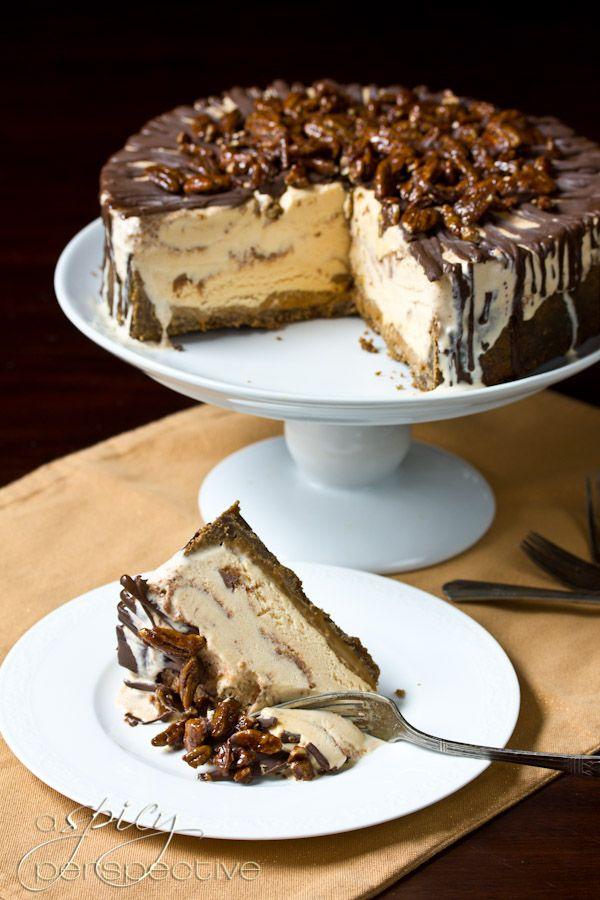 EasyTurtle Pumpkin Ice Cream Cake: An Impressive #Thanksgiving Dessert | ASpicyPerspective.com #holidays #icecream #pumpkin