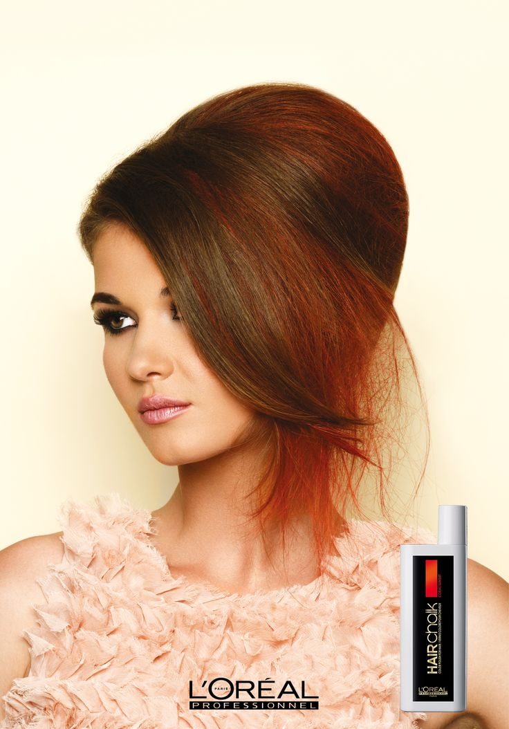 The Blushed Beehive look, inspired by the latest catwalk hair trends, from the James Galvin Hairchalk photoshoot. This look uses only one colour, Coral, in the hair which gives the look a soft feel.