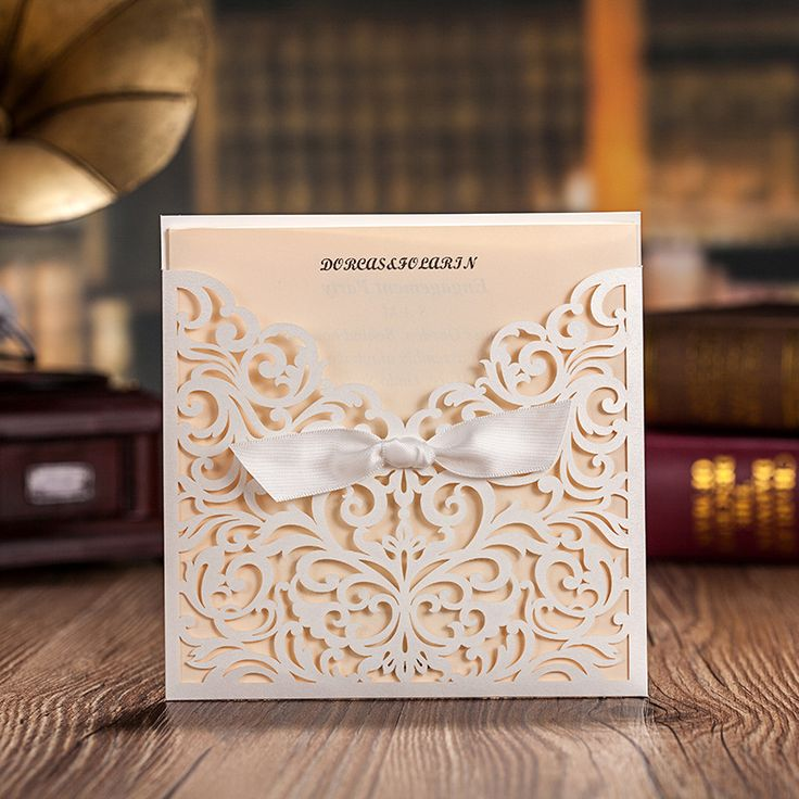 lace wedding invitation wrap%0A WISHMADE    Count Square Laser Cut Invitations Cards Kits White for Wedding  Birthday Bridal Shower with Ribbon Envelopes Printable Beige Tri Fold Paper