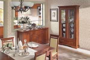 STYLIUS BRW Dining room furniture set. Elements of the collection available in the antique cherry colour. Polish BRW Modern Furniture Store in London, United Kingdom #furniture #polish #brw #diningroom