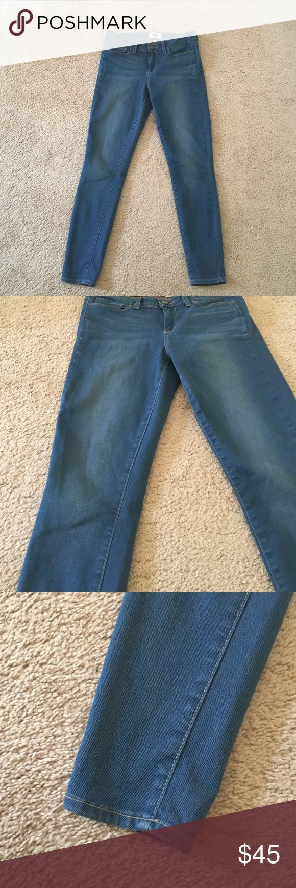 Paige jeans! These jeans are so soft, and stretchy! Paige are the best, these just don't fit me. Selling at a really good price bc holding onto them does me no good. They are a really pretty blue jean color. Not a dark wash and not light either. Ask any questions and bundle! Paige Jeans Jeans Skinny