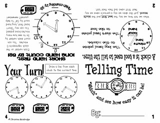 Free telling time flippy book
